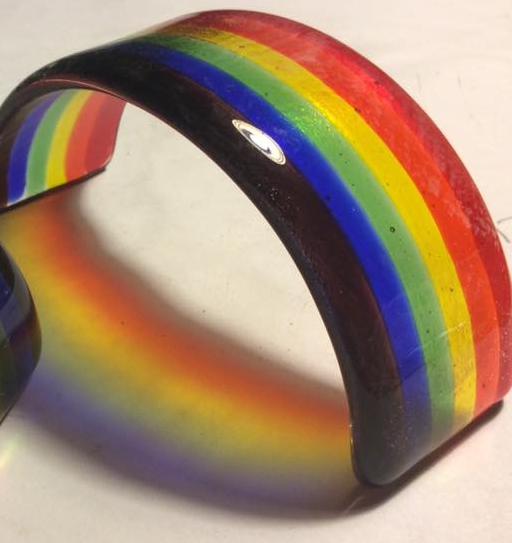 Local business owner Connie Beckers sells rainbow glass for Pride and all-year long. Photo by Connie Beckers.