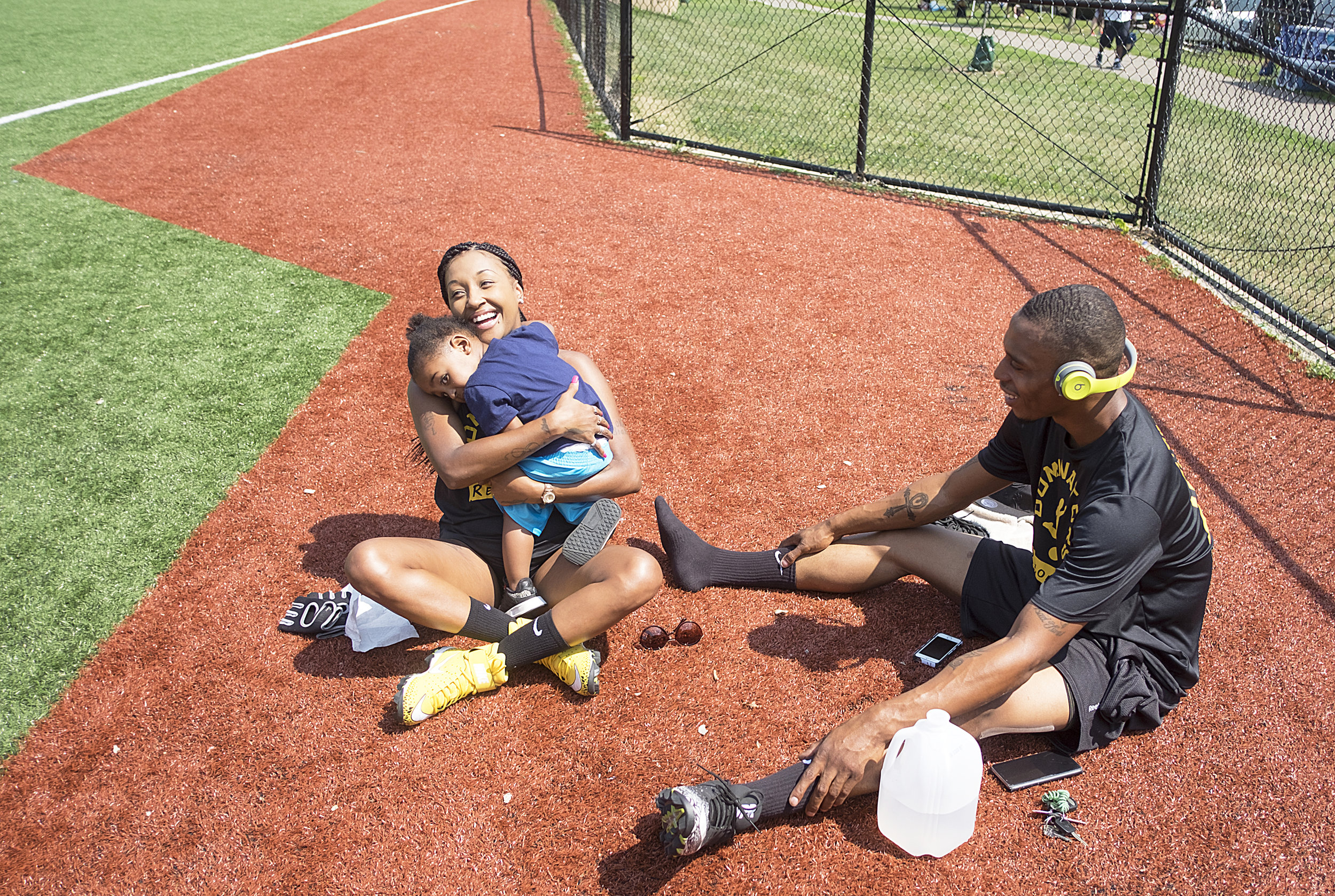 Competition is fierce on kickball Sundays but so is the love players have for their family and friends.  Photo by David Pierini