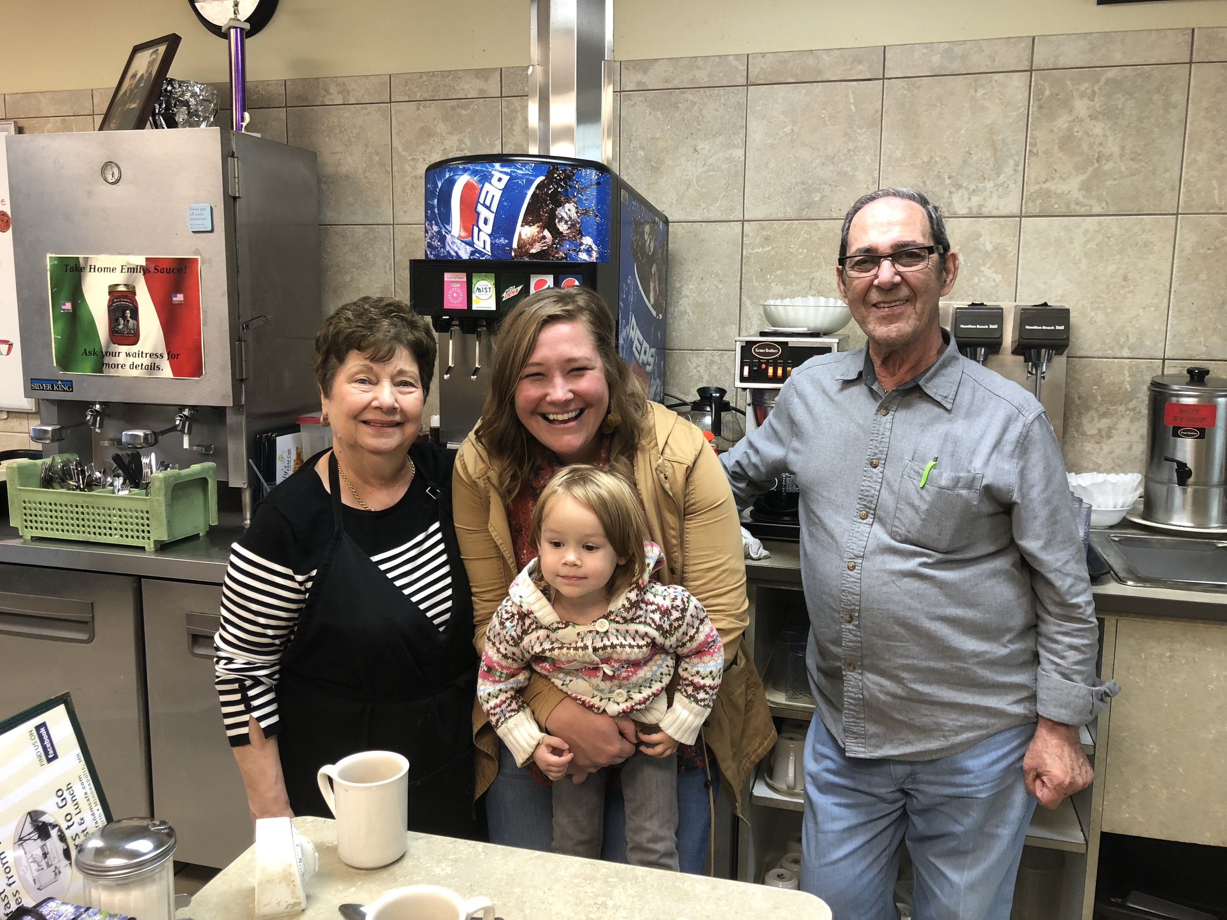 Stephanie Page, alongside her daughter and mother (not pictured here), stopped by Emily's F & M Cafe to meet and meet with cafe owners Emily and Elliot Sr. Benincasa.  Photo by Sherrill Thurston.