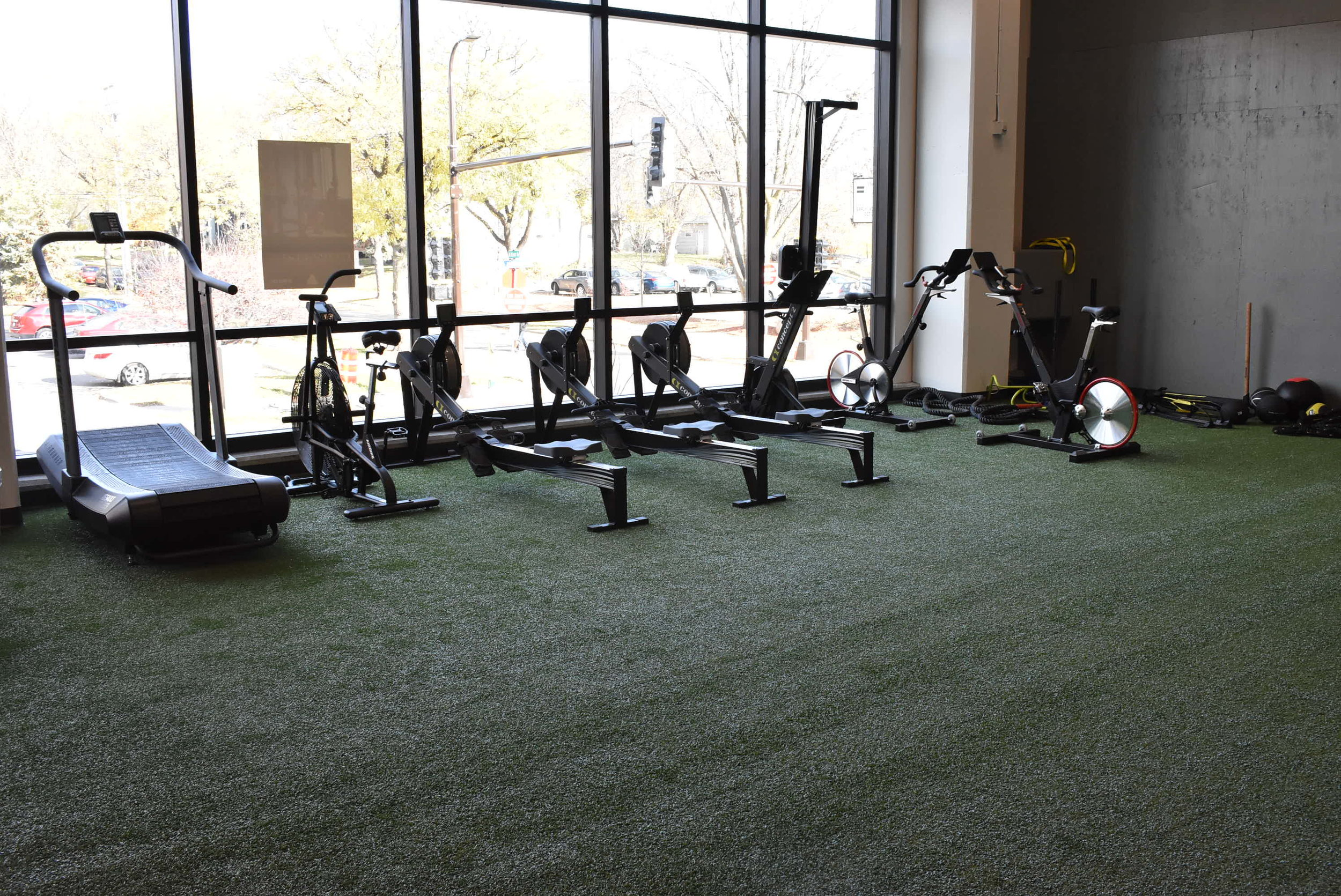 ME & I Fitness is home to a large empty area of grassy turf which members can use for a variety of exercises. Machines can be moved around the space as needed.  Photo by Cirien Saadeh