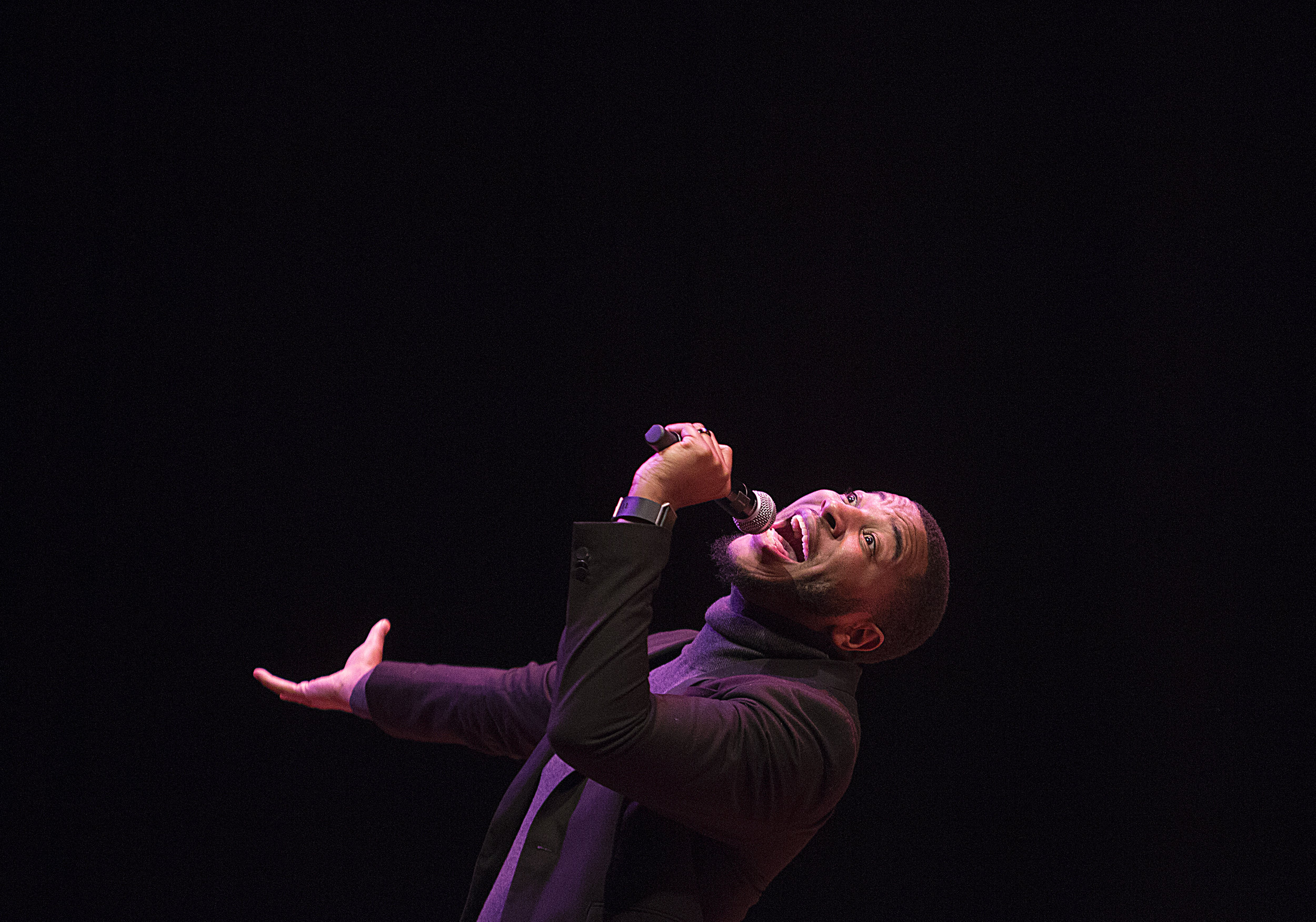North Minneapolis's own Jovonta Patton, a Billboard-charting gospel artist, sings at the University of Minnesota's Ted Mann Concert Hall during a musical event celebrating the life of  Dr. Martin Luther King Jr.