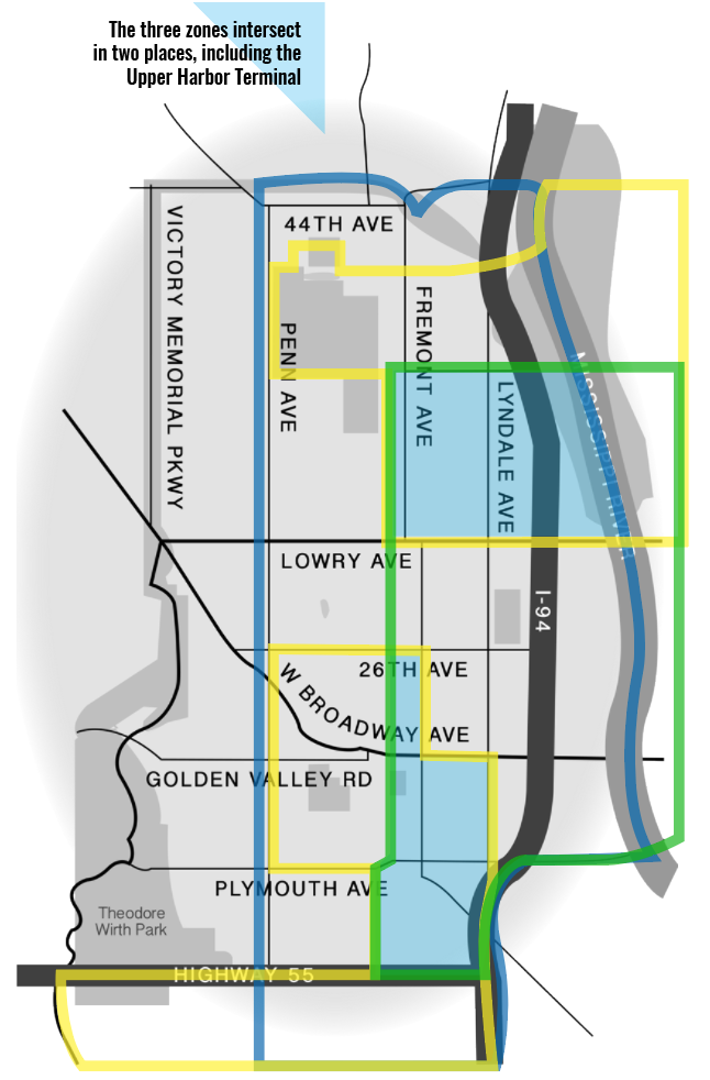 The boundaries of each of North Minneapolis' zones overlap. Here, green lines indicate the green zone, yellow represents the opportunity zones, and blue showcases the Promise Zone.  Illustration by Emily Ronning