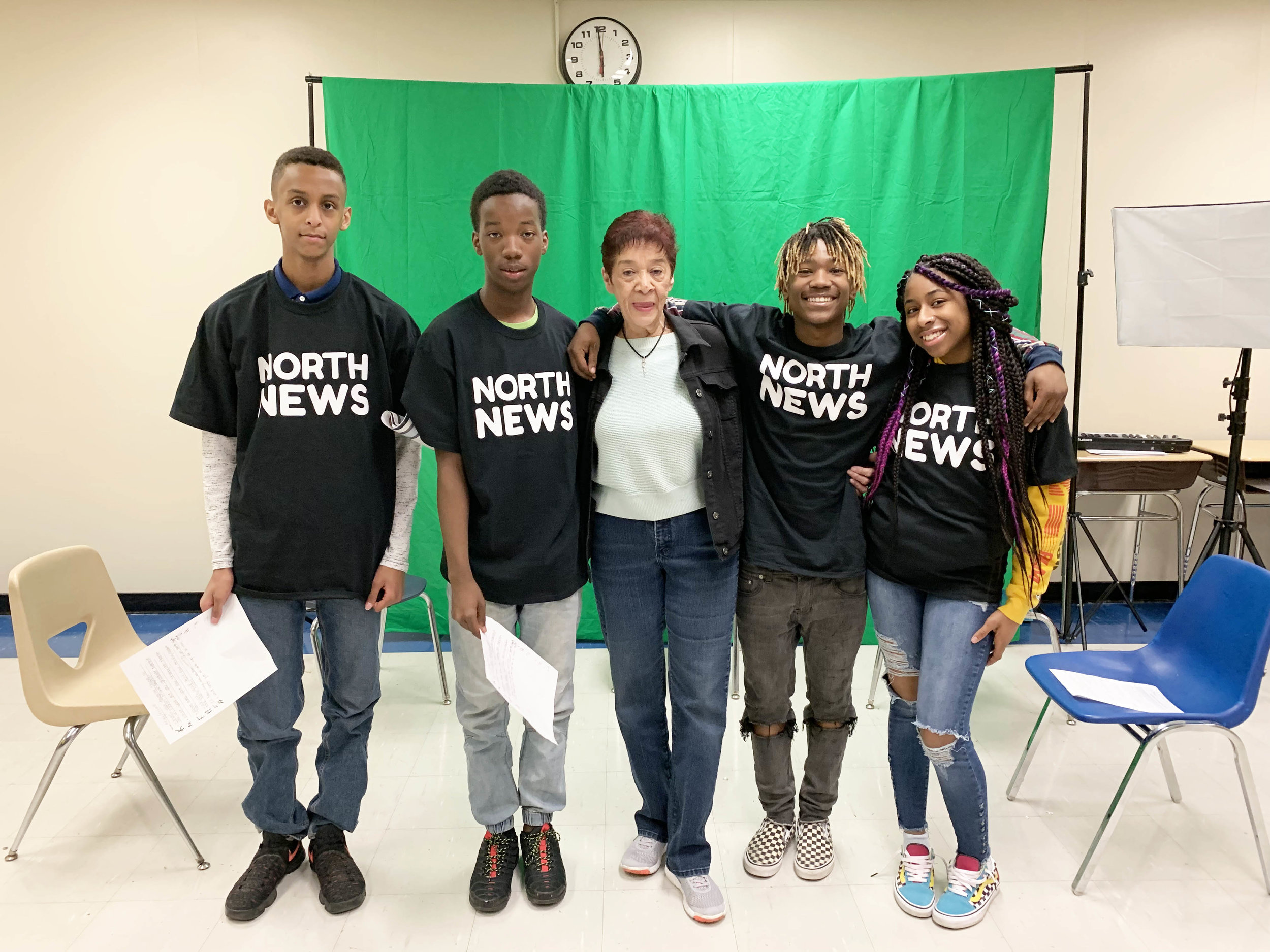 Lynne Crockett visited the North News journalism class at North High School in April for an interview with four student journalists.  Photo by Kenzie O'Keefe