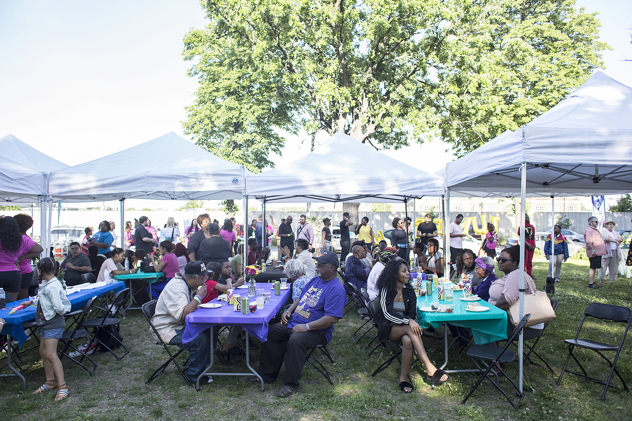 The crowd enjoyed perfect weather and grilled sausage and corn to go with the fellowship of family and friends at VFC's Juneteenth event in June.