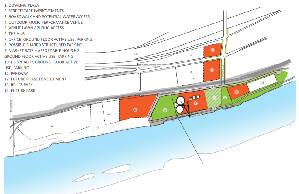 A Phase 1 development plan for the Upper Harbor Terminal is drafted in the City, Park Board, and United Properties' collaborative concept plan for site. The Hub (6) is envisioned to be a marketplace for economically driven initiatives.  Rendering courtesy of upperharbormpls.com