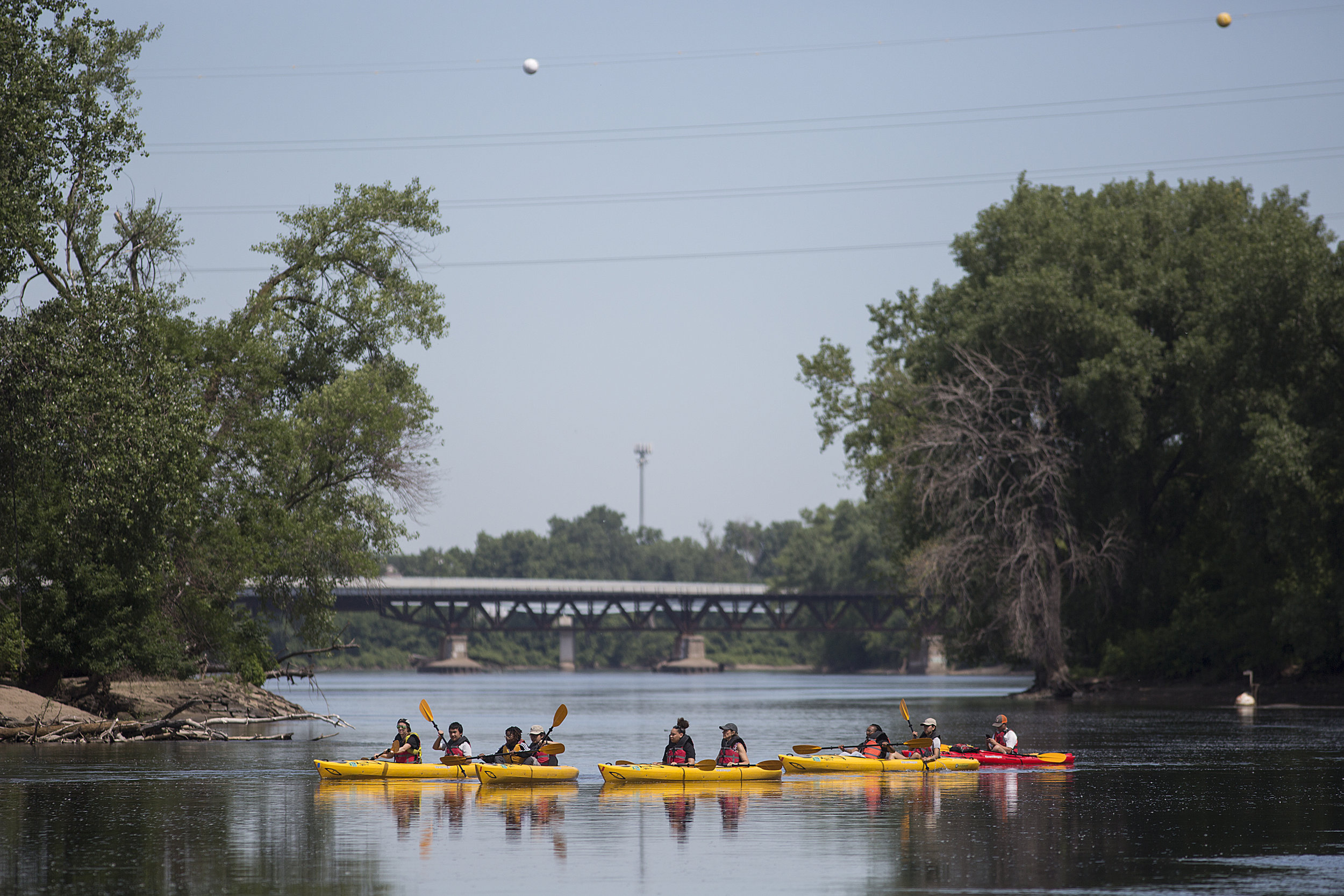 North News  summer interns paddled from North Mississippi Regional Park to Boom Island Park on the Mississippi River on June 26. They were guided by Paddle Bridge and National Park Service Fellows.  Photo by David Pierini