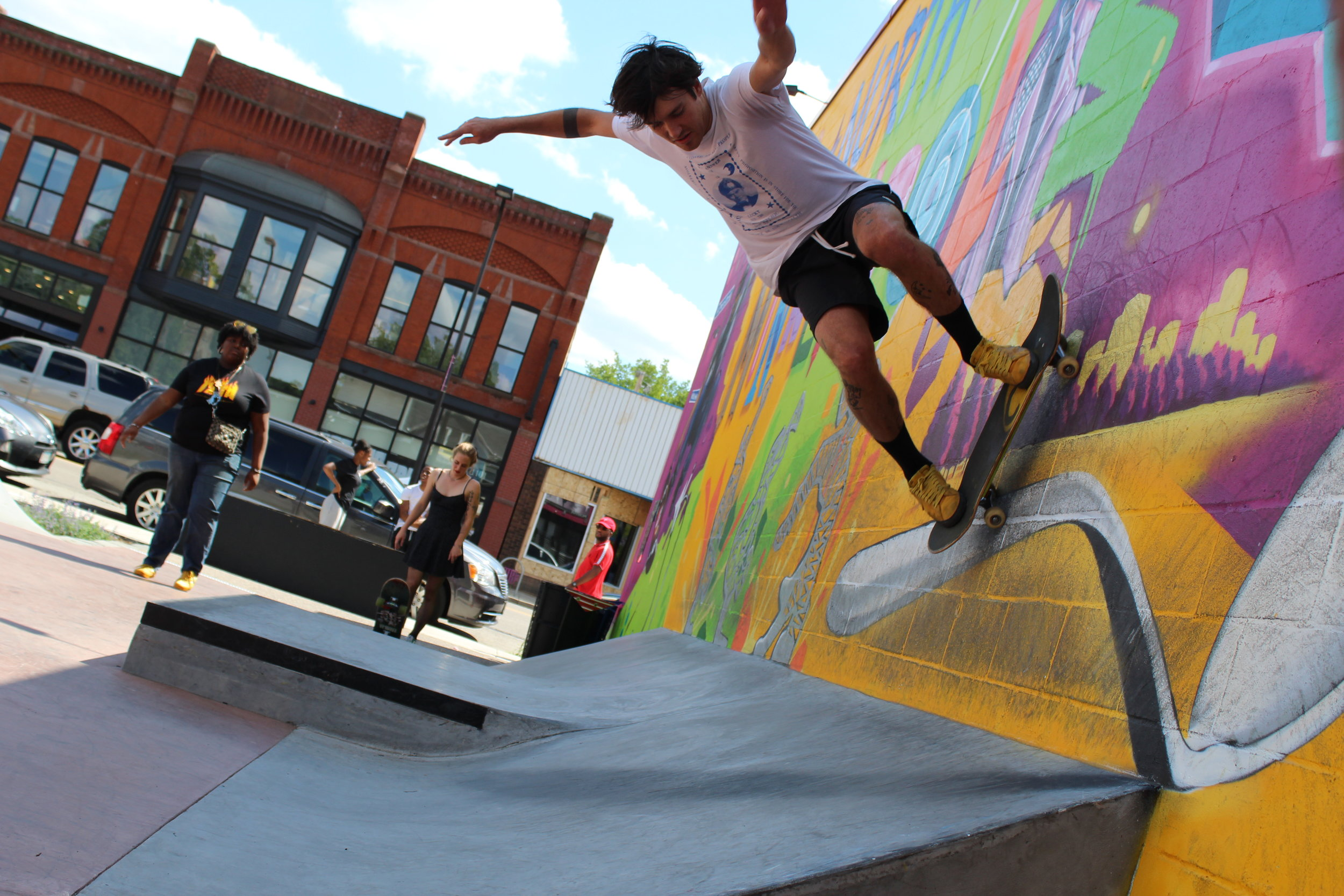 "Alex Sveda shows off his best moves at the Juxtaposition Arts skatepark. ""When I think of FLOW, I kind of just think of skateboarding when you can keep flowing around the park. Just a motion that you follow, and you can adjust yourself to that motion."" he said.  Photo by Myesha Powell"