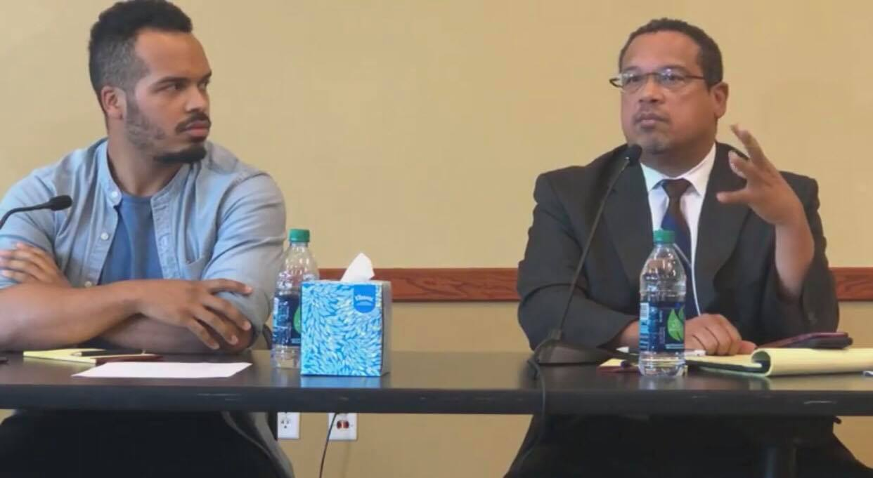 Council Member Jeremiah Ellison (left) and Minnesota Attorney General Keith Ellison (right) held a listening session on housing at UROC on July 29.