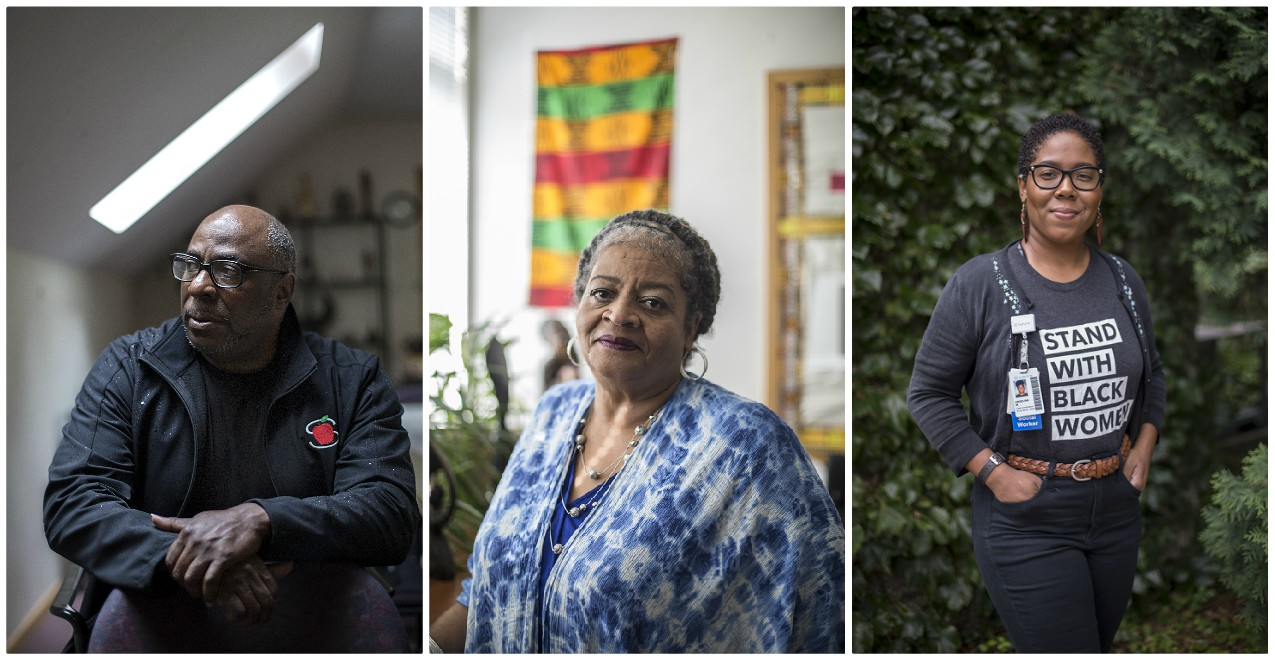 From left to right:  James Page Jr., Dorothy Jones, and Angelina McDowell have histories of addiction. Today they serve others in the throes of chemical dependency.  Photos by David Pierini