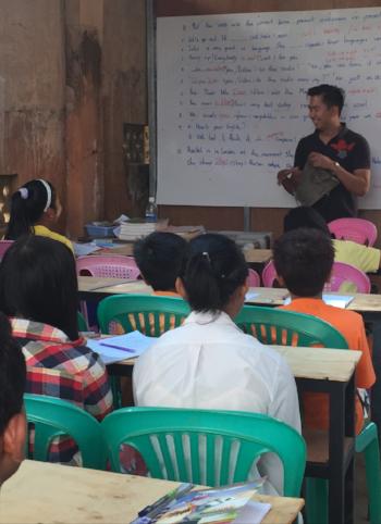 Host Ko Gyi is an engaging teacher of mathematics and English