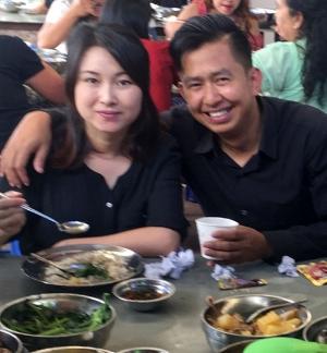 Elizabeth and Ko Kyi at a church celebration meal