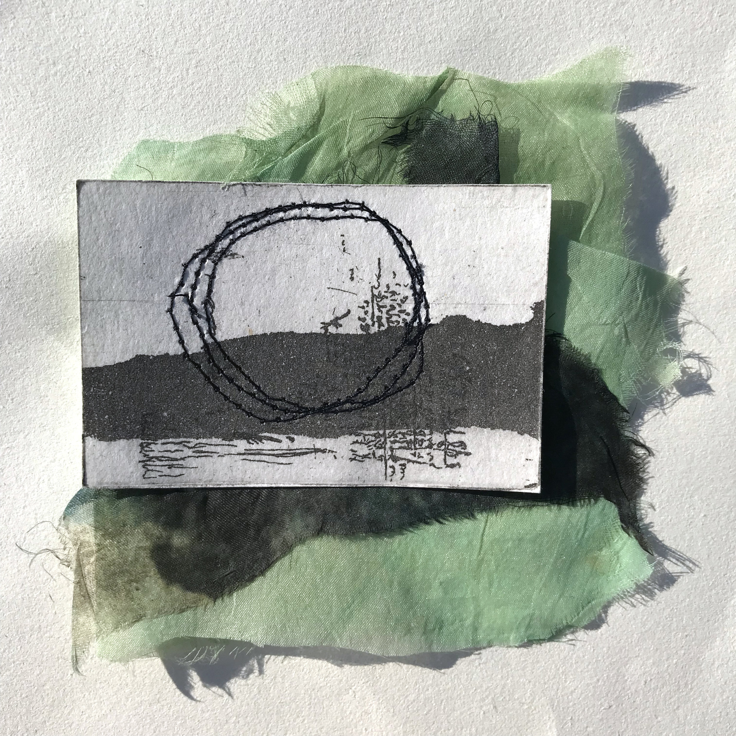 silk matrices, aquatint, etching, thread