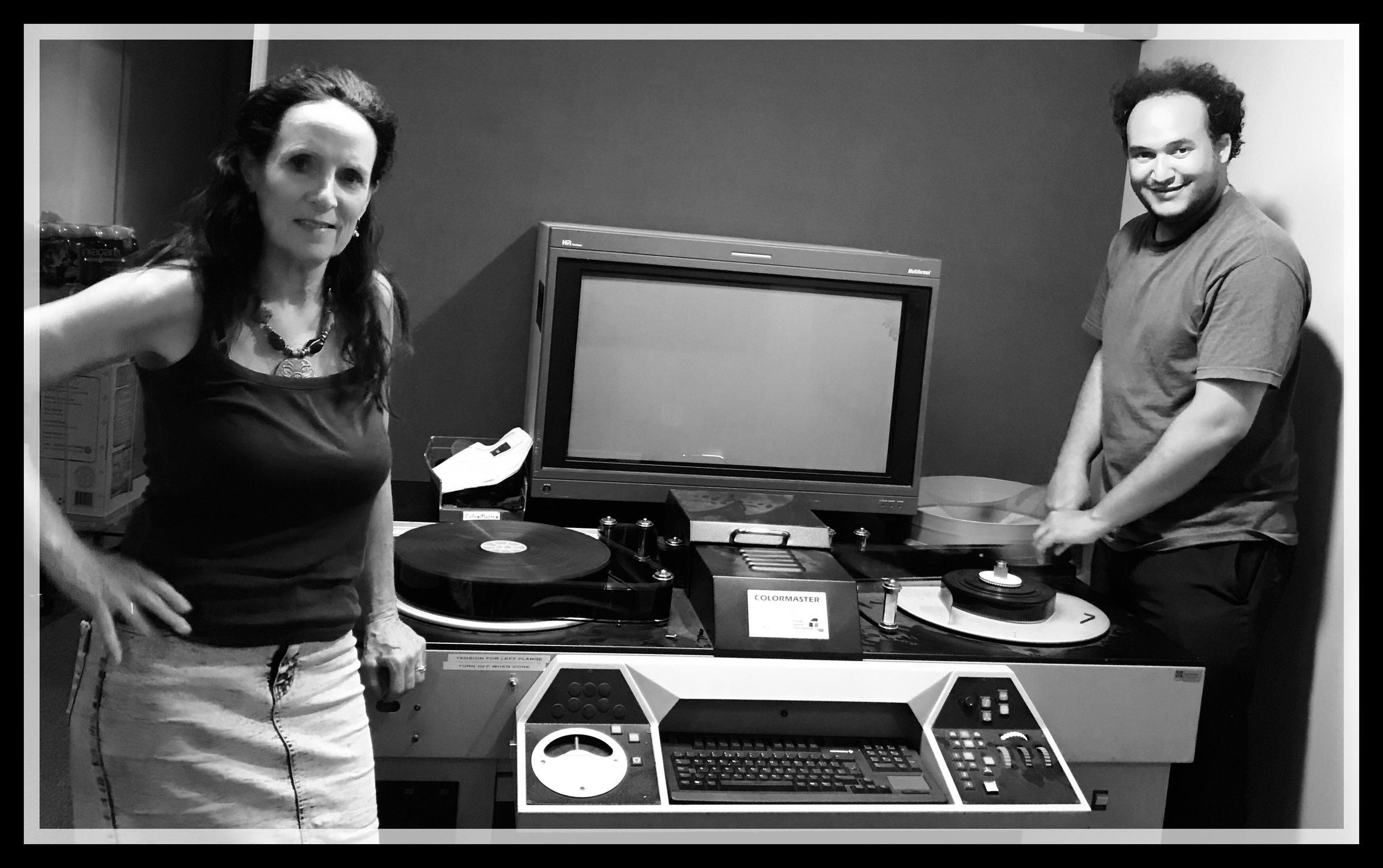 Gotham Founder Jaime Busby and his mother Susan installing a 70MM Colormaster Print Timing Machine.