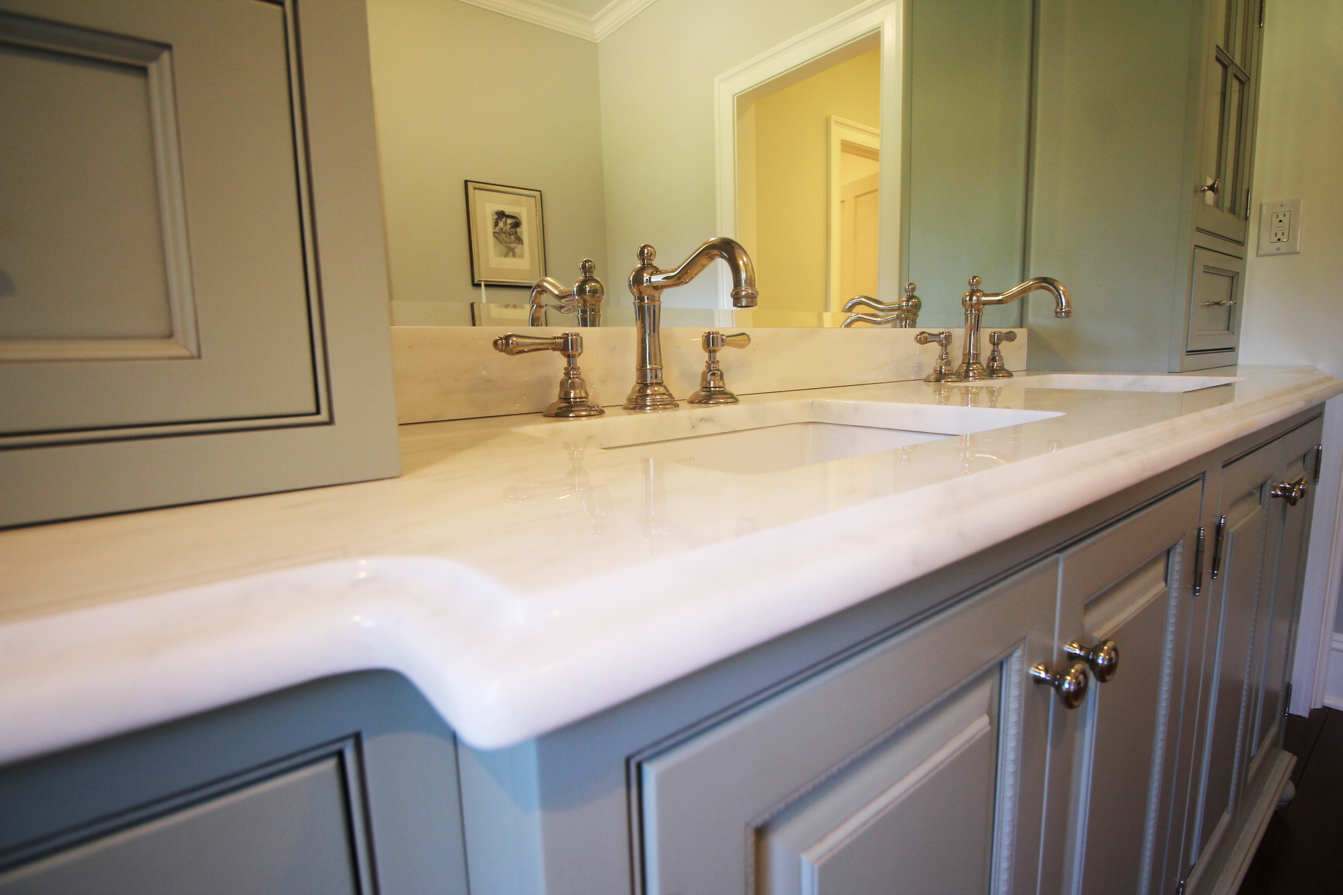 Vermont Danby marble, Rohl faucets