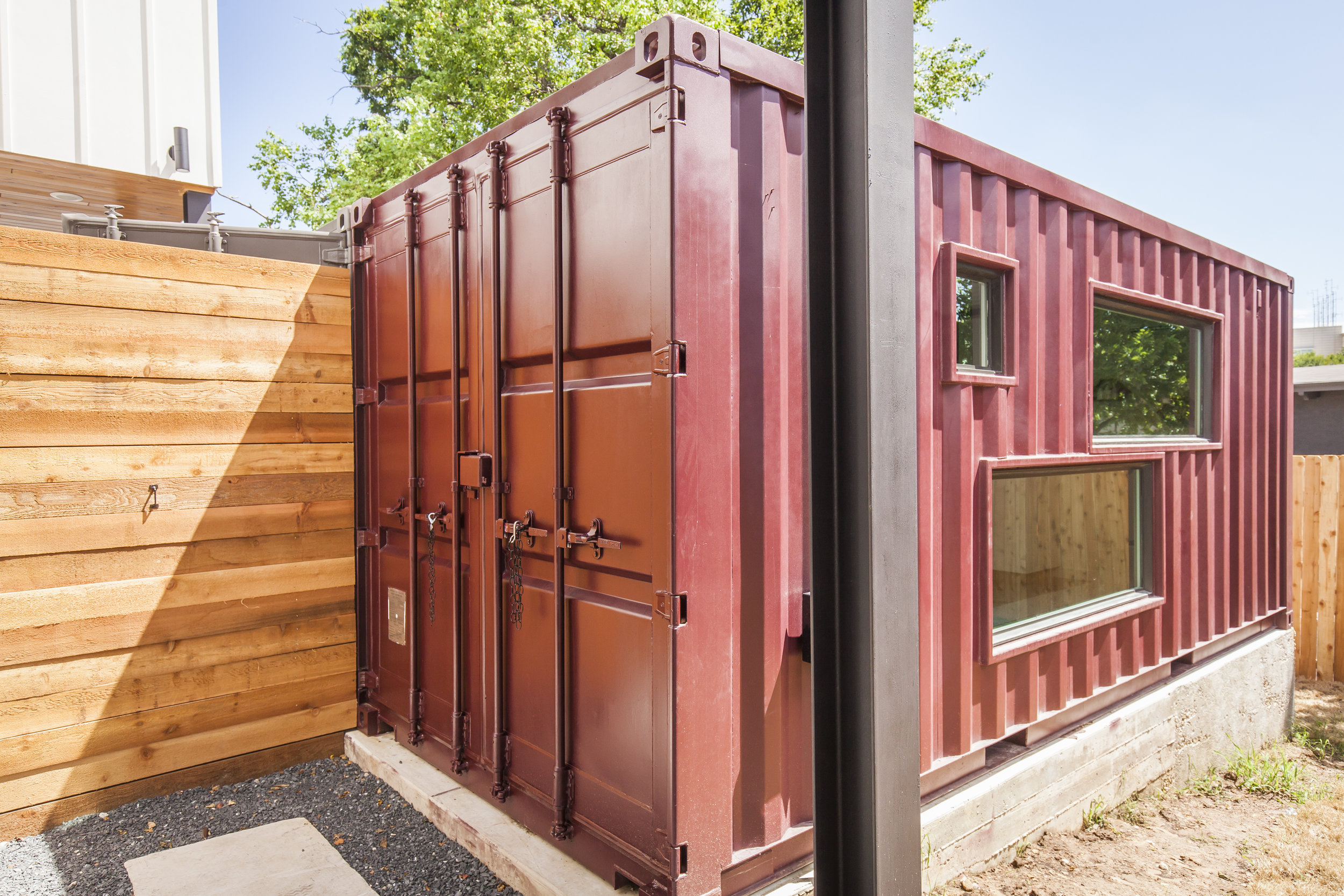 Backyard shipping container in East Austin featured in Tribeza Magazine Interiors Home Tour