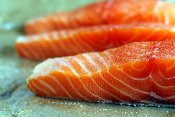 Raw salmon pieces (Source:  wordpress )