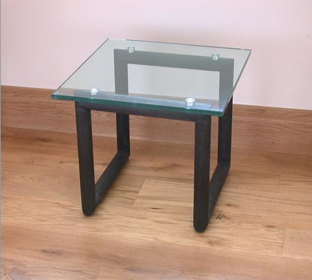 Black ash and glass table