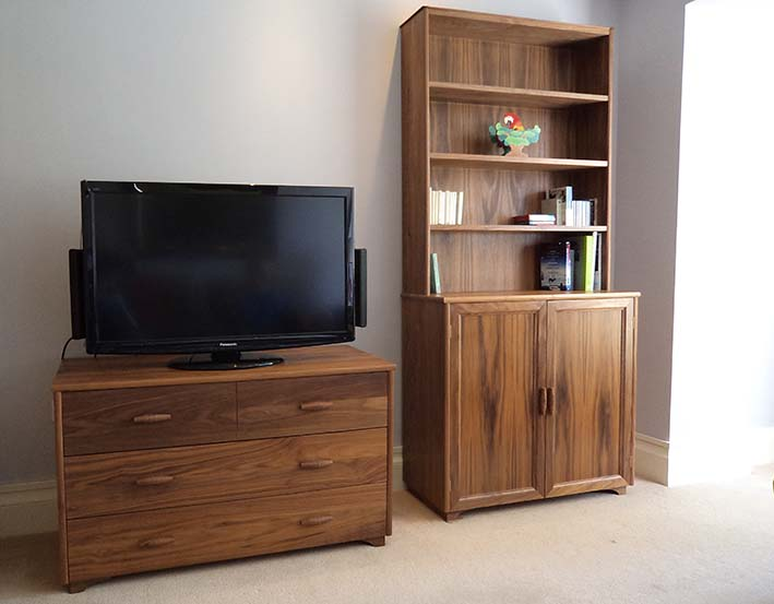 Walnut cabinet and chest of drawers