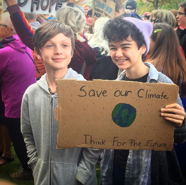 Ruth skipped school today to show up in solidarity at the #kelownaclimatestrike . . #globalclimatestrike