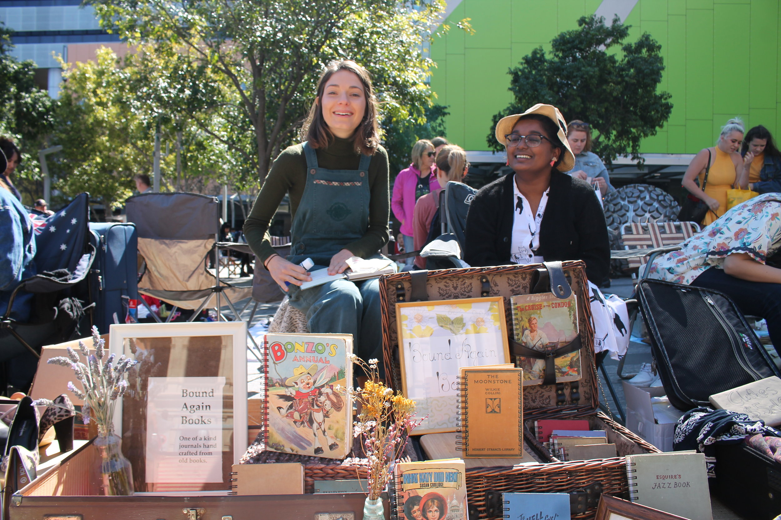 "I bought my new journal from these girls. They repurpose books as sketchbooks. They had a stand set up at the ""Suitcase Rummages"" in Brisbane."