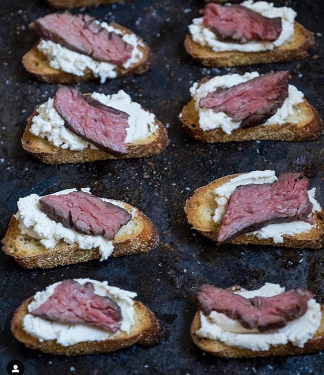 Happy Father's Day to all of the wonderful Dad's out there.  Dad deserves something special today like @thefoodjoy's sous vide Steak & Ricotta Crostini.⠀ ⠀ Ingredients⠀ 12 oz filet mignon or sirloin steak ⠀ 1 baguette sliced 1/2 inch pieces⠀ olive oil⠀ 8 oz ricotta (or dairy-free ricotta) ⠀ 1/4 teaspoon salt⠀ 1/4 teaspoon pepper⠀ 1/4 teaspoon truffle oil⠀ 1 1/2 teaspoon honey (or agave)⠀ Instructions:⠀ Steak:⠀ Fill up a large heat-safe pot or container with water and set your sous vide to 129 degrees Fahrenheit.⠀ ⠀ Place your steak in a zip lock bag and season liberally with salt and pepper and seal the bag, leaving about 1/2 an inch open. Place the bag into the water bath so that the steak is completely submerged but not the seal. Cook for about 45 minutes.⠀ ⠀ Remove the steak from the zip lock bag. Heat a cast iron skillet or pan on high until you can feel it is hot when hovering your hand over the pan. ⠀ ⠀ Add a touch of olive oil to the pan. Place steak on the pan and sear each side for about 45 seconds on each side or until a brown crust appears.⠀ ⠀ Remove steak and let it rest on a cutting board for about 5-10 minutes (or longer) before slicing. When rested, cut the steak in about 1/4 inch slices and cut each slice in half lengthwise.⠀ ⠀ Crostini:⠀ ⠀ Preheat oven to 350 degrees. Line a baking sheet with sliced baguettes. Drizzle the crostinis olive oil and season with salt and pepper. Bake for about 10 minutes or until the sides start to turn golden brown. Remove from the oven and let cool.⠀ ⠀ Combine ricotta, salt, pepper, honey and truffle oil in a small bowl.⠀ ⠀ When crostinis are cool, top with ricotta mixture and one piece of steak.⠀ .⠀ .⠀ .⠀ .⠀ .⠀ #happyfathersday #dad #steak #culinaryarts #culinary #food #foodie #chef #inthekitchen #homechef #cookinglife #foodphotography #culinaryschool #cheflife #foodies #foodblogger #culinarytalents #cooking #foodart #lifestyle #cuisine #kitchengadgets #productdesign #kitchentools #kitchenstuff ⠀ ⠀