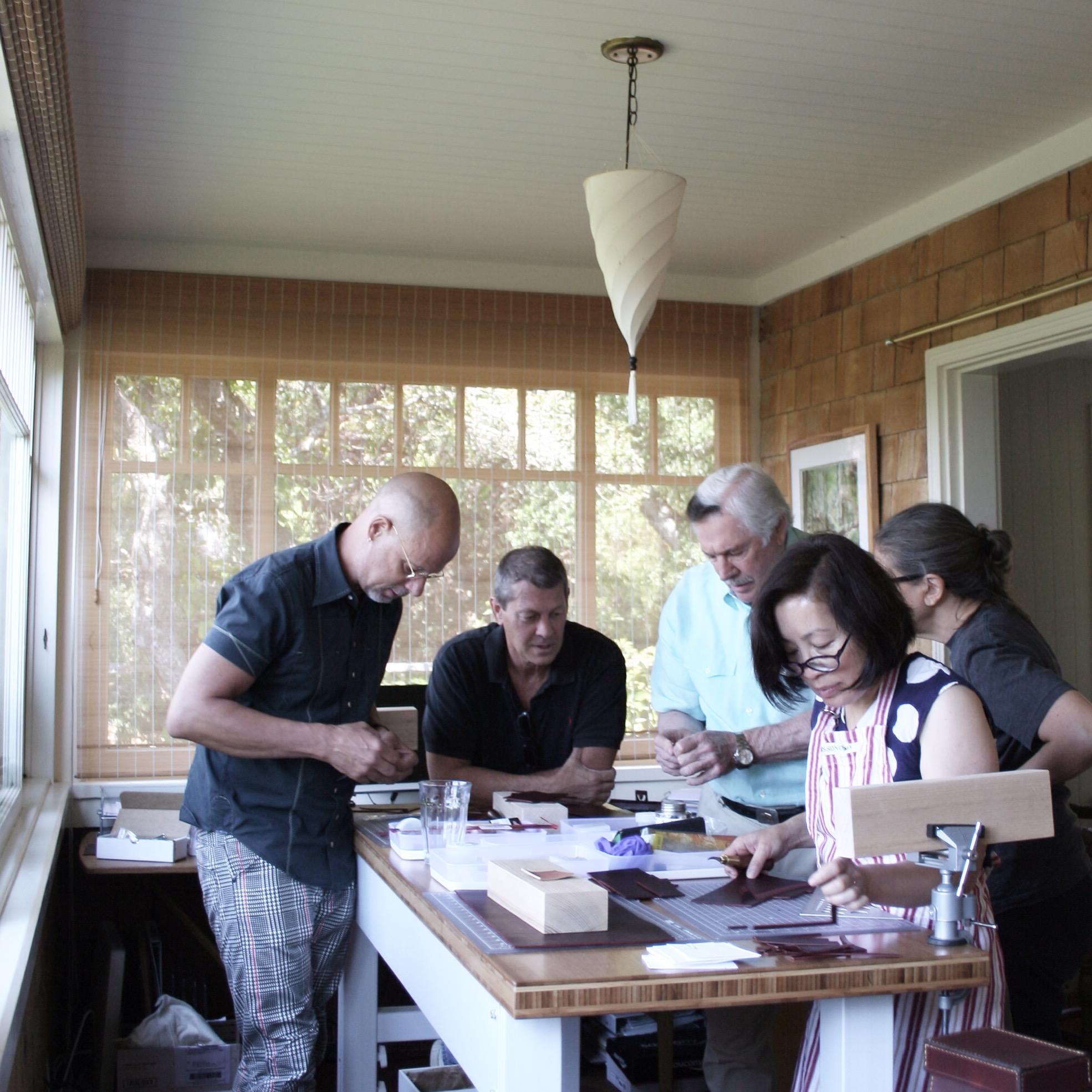 Jack Holland teaching Leatherwork