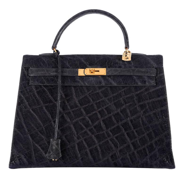 hermes kelly elephant skin handbag