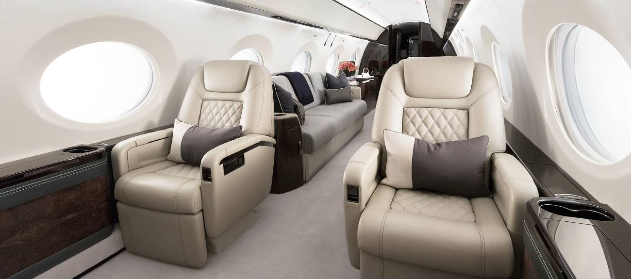 Private jet interior with leather seating