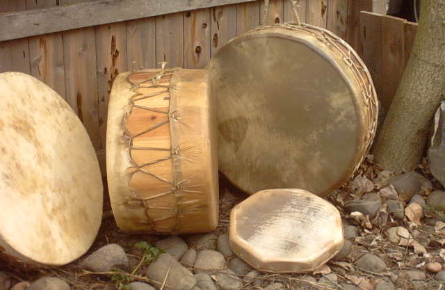 Drums made with rawhide