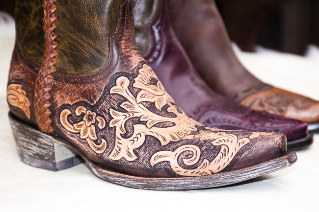 Carved leather cowboy boots