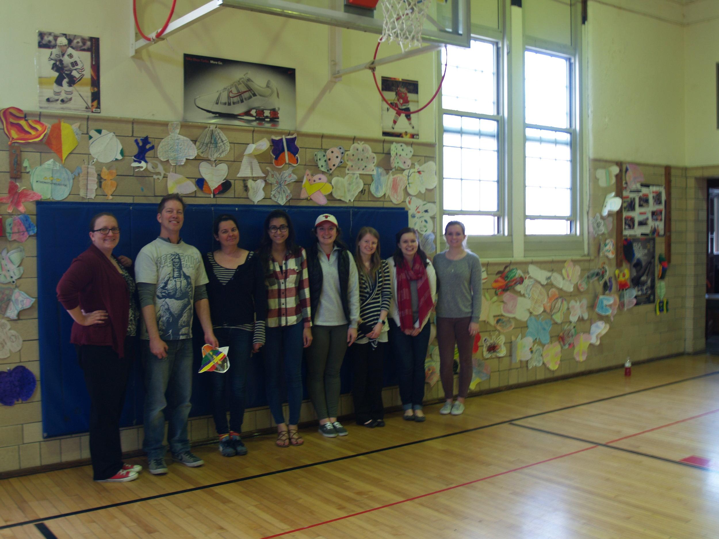 Claire Kovacs, Jeff Schmuki, Wendy DesChene and Augustana Education students