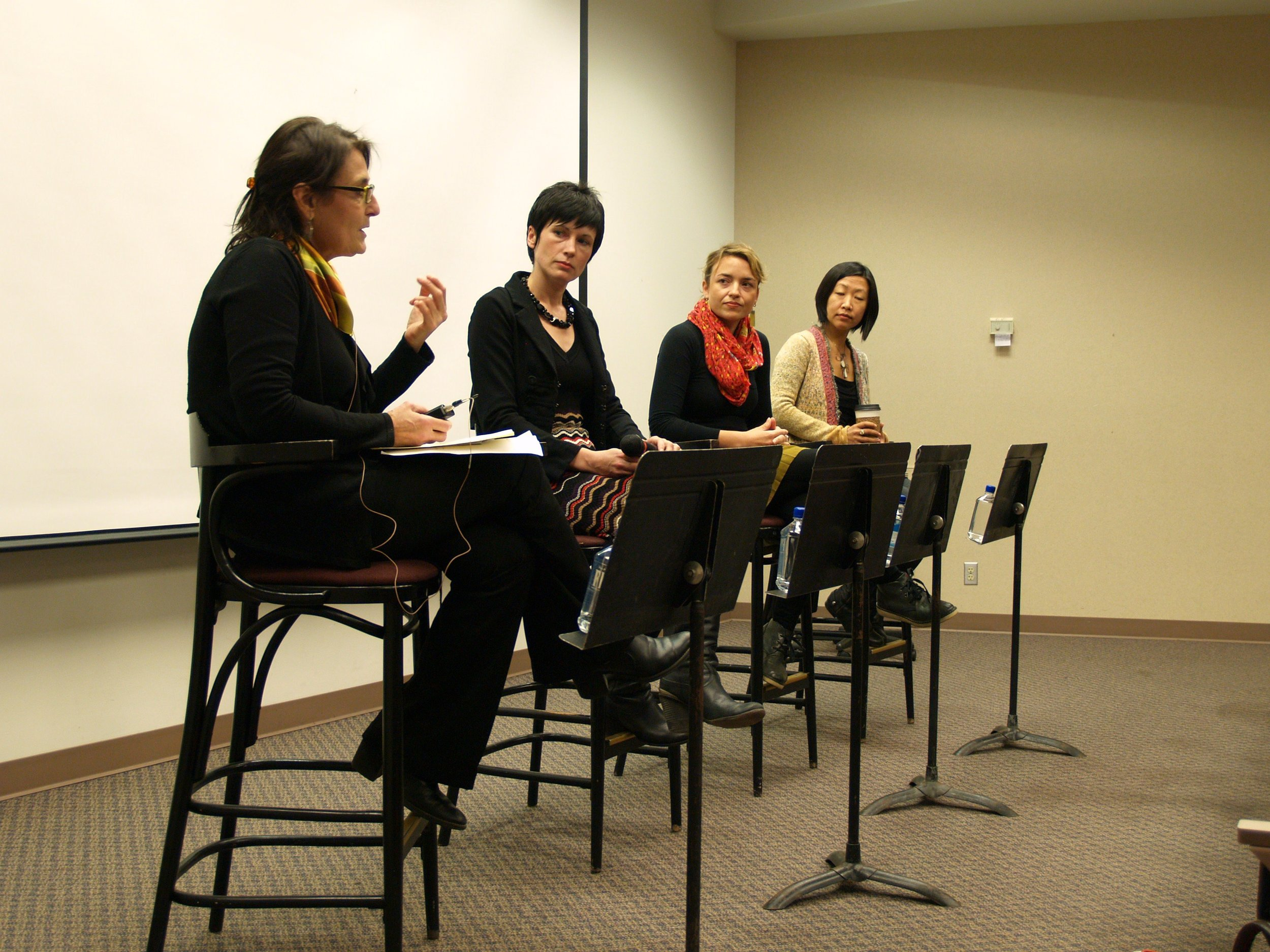 Panel on installation art. Isabel Barbuzza (moderator), Liz Miller, Rachel Hayes and Beili Liu (panelists)