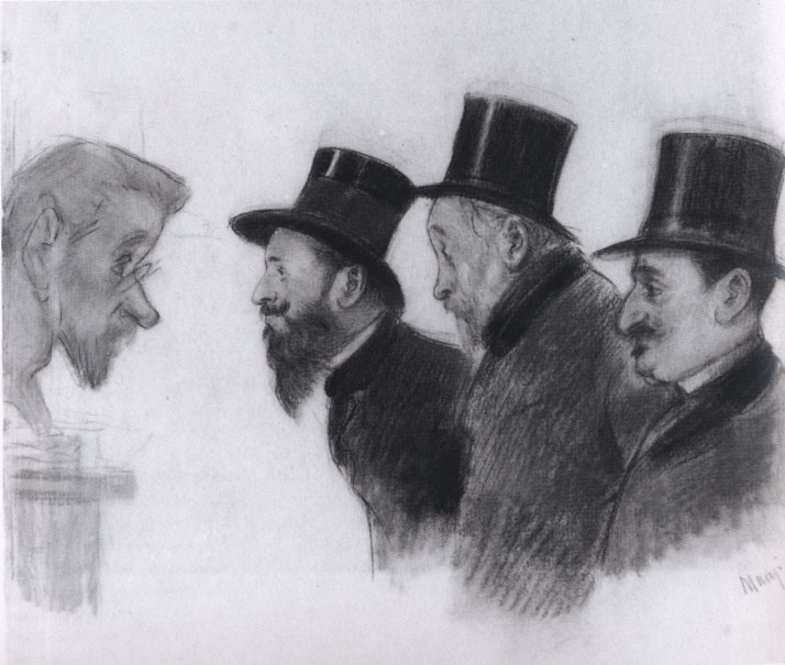 Michel Manzi. Albert Bartholomé, Edgar Degas and Michel Manzi in front of a bust of Paul Lafond, nd, Charcoal and pastel on paper.