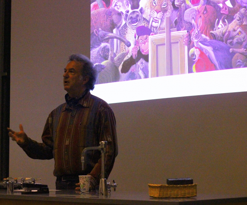 Willilam Stout lecture. Photo courtesy of the Augustana Photo Bureau