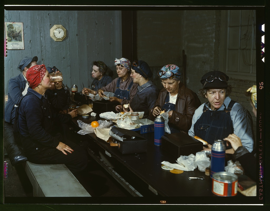 Women workers employed as wipers in the roundhouse having lunch in their rest room.    Source