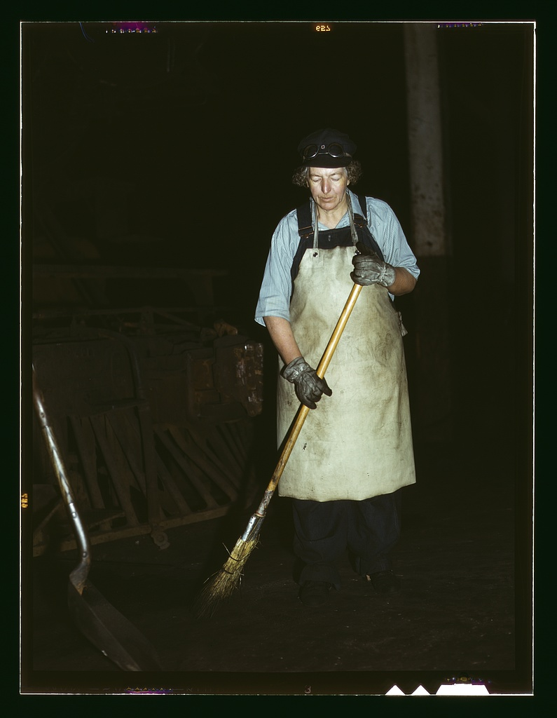 Chicago & North Western R.R., Elibia Siematter, working as a sweeper at the roundhouse.   Source