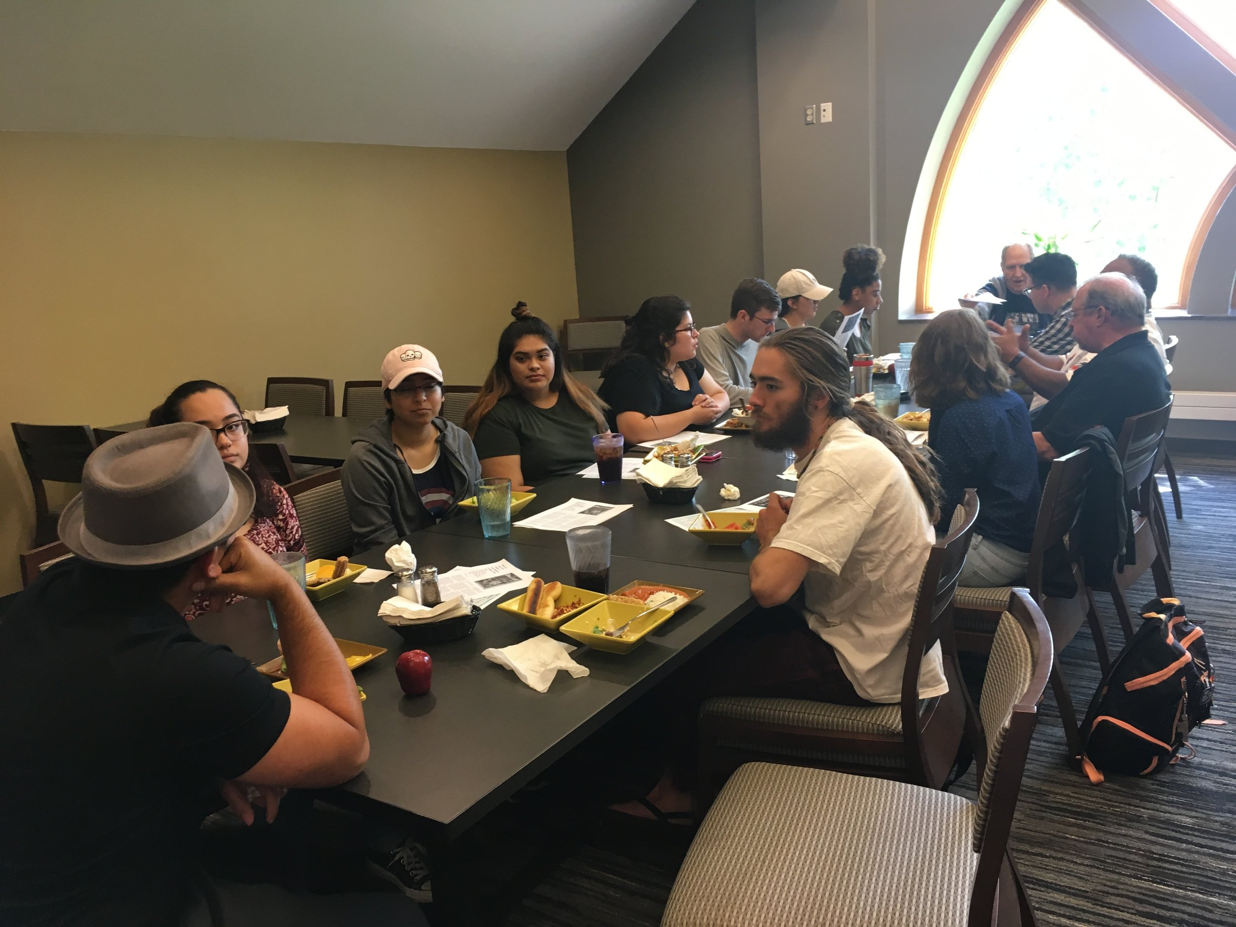 Student lunch with members of the Rainbow Coalition.