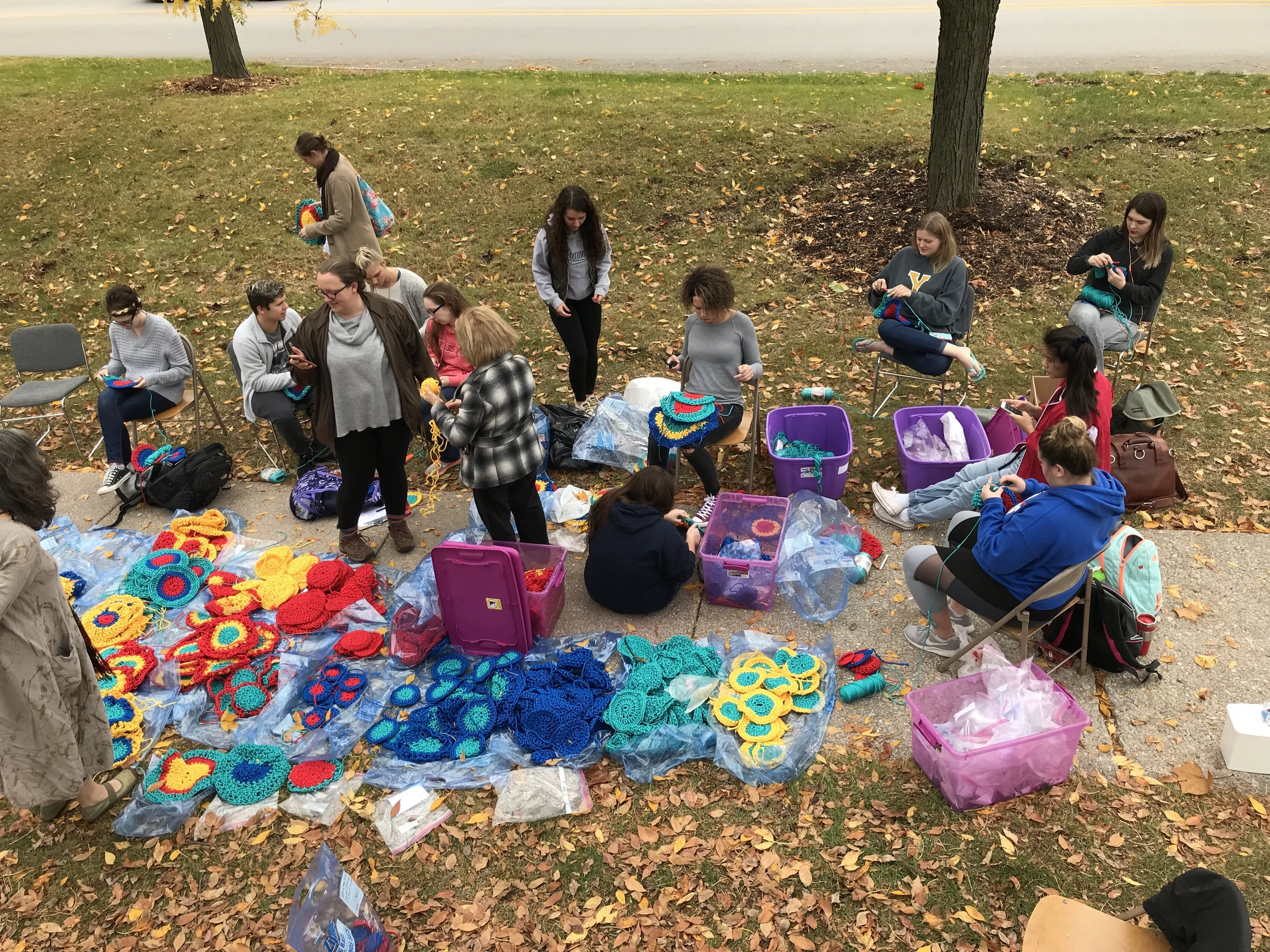 Installation at Augustana College, with students from the fiber sculpture class (photo courtesy of Carol Hummel)