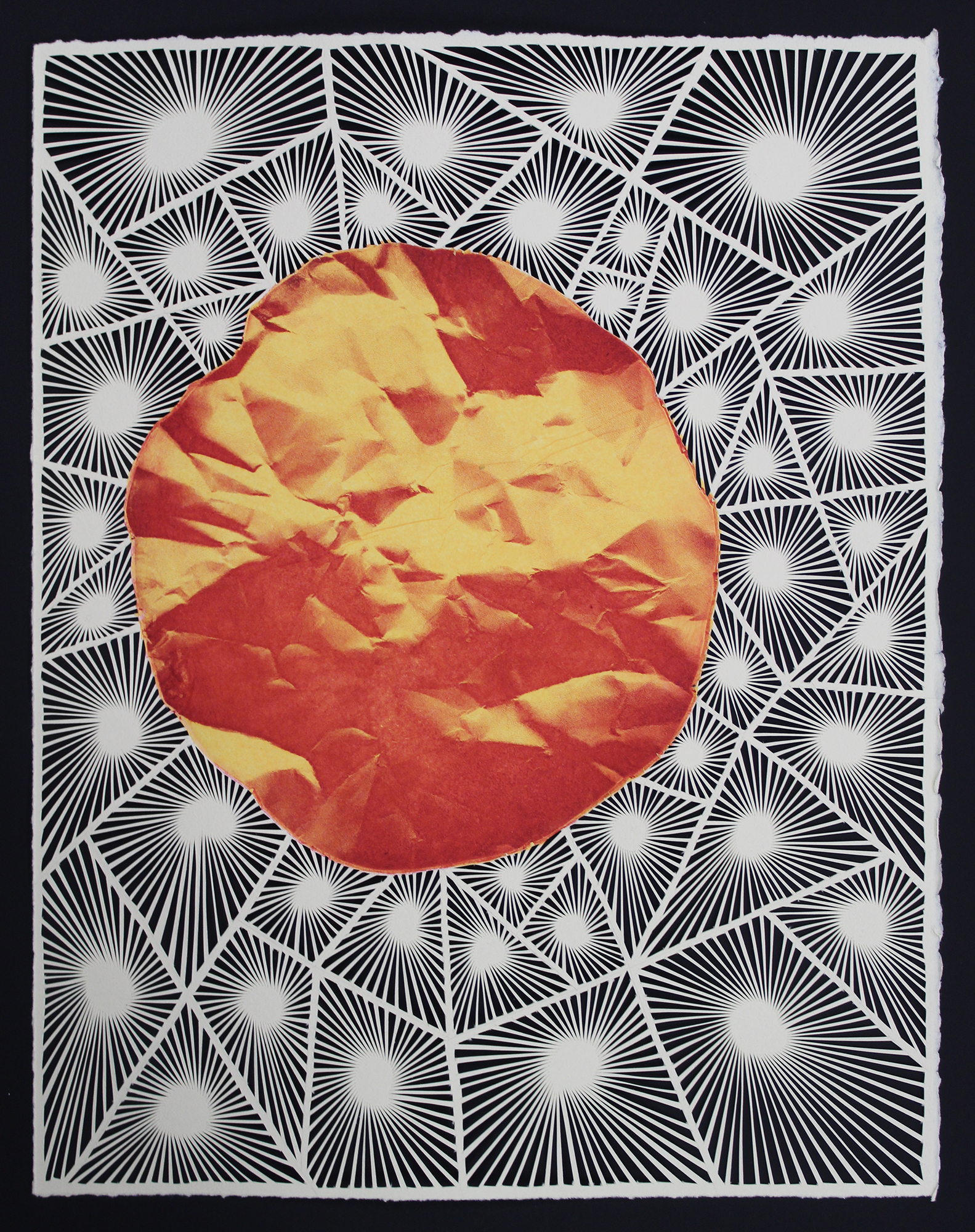 "Red Giant  Laser intaglio etching w/ Chine Collé on white hand-cut paper  12"" x 15""  2019"