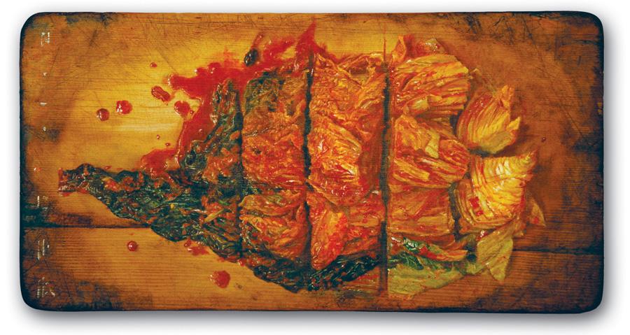 Oil painting on cutting board,450 x 230 x 23 mm,2010 Private Collection of Sanghwan Lee