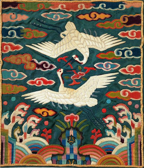 Rank badge  (hyungbae)  with double cranes for first- to third-rank civil official. Korean, Joseon dynasty (1392-1910). Silk; embroidered. 20.8 cm (width) x 23.2 cm (height). The Chung Young Yang Embroidery Museum, Seoul.