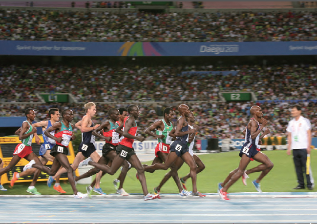 Competitors in the steeplechase at the 2011 IAAF World Athletics Championships in Daegu.