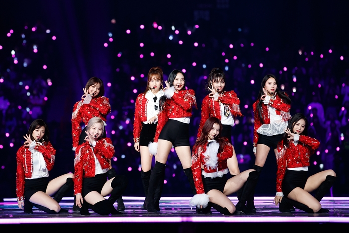 The nine-member girl band TWICE on Dec. 12 performs on stage at the 2018 Mnet Asian Music Awards (MAMA) Fans' Choice in Japan held at Saitama Super Arena in Saitama City, Japan.