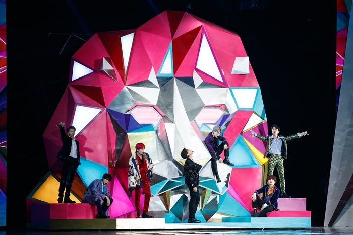 Super K-pop boy band BTS on Dec. 14 performs on stage during the 2018 Mnet Asian Music Awards (MAMA) at AsiaWorld-Expo Arena in Hong Kong.