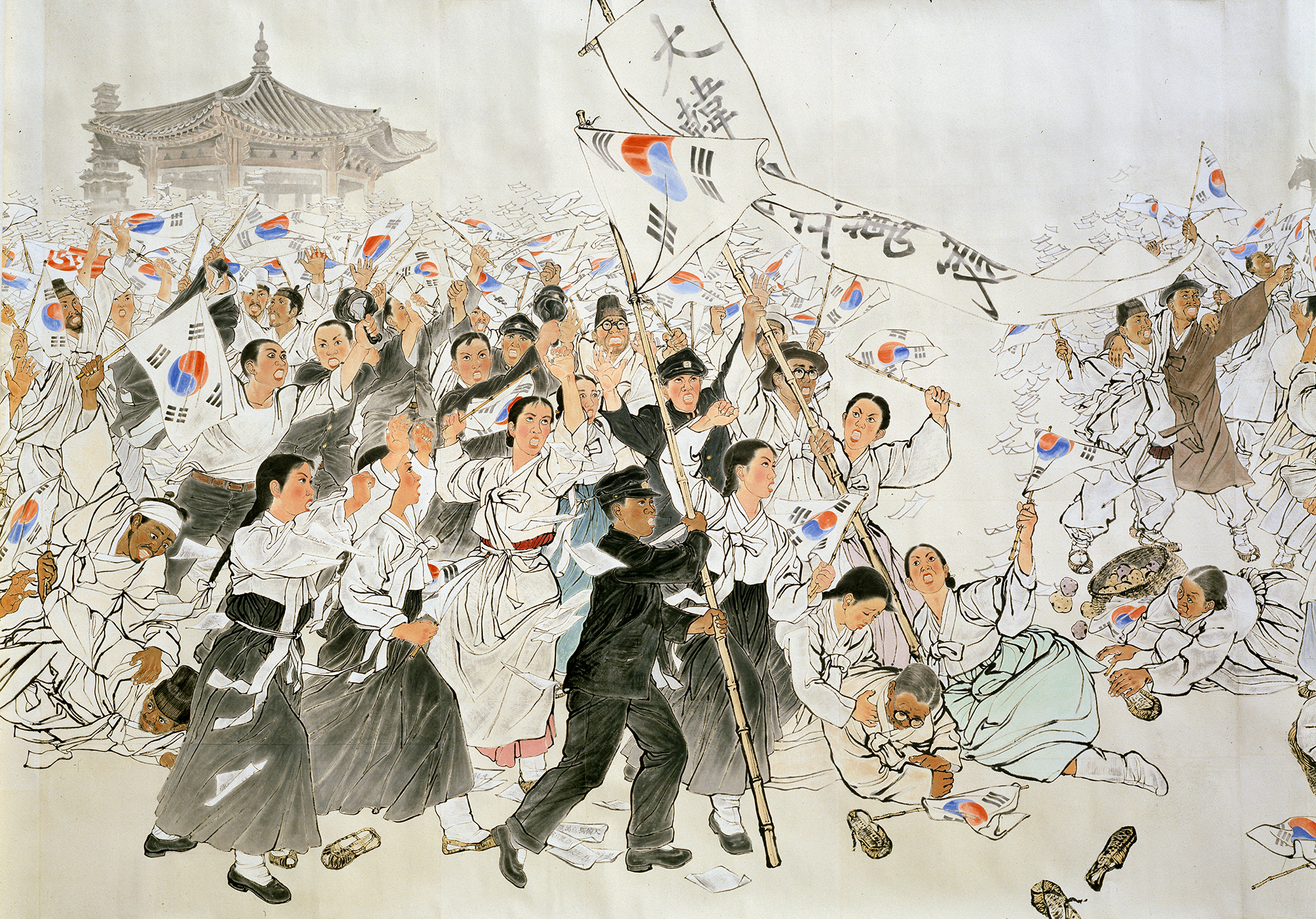 Suh Se-ok. The March 1st Independence Movement (detail 1)   Korea, 1986. Ink and color on mulberry paper. 776.6 x 127.2 in (1972.5 × 323 cm).
