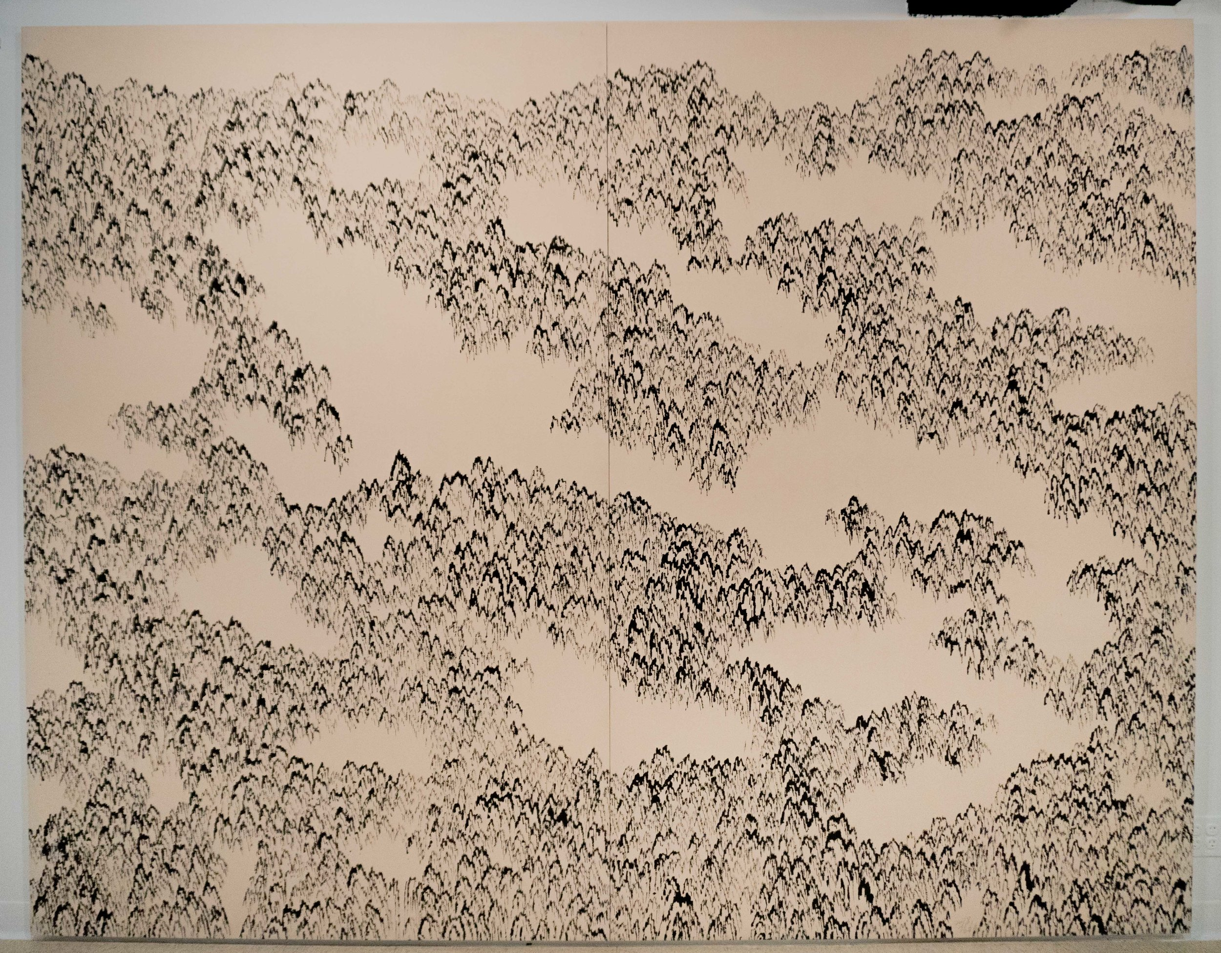 Kim Ho Deuk 김호득 b. 1950   Mountain – Faraway 산-아득 2018 Ink on cotton fabric 99 x 127 in
