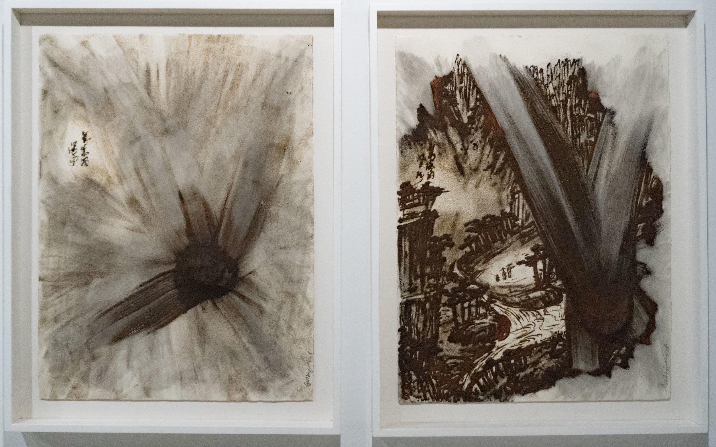 Kim Jongku김종구 b. 1963   Mahn Pok Dong 만폭동 2018 Iron dust, PV glue, canvas 17 ¾ x 25 ½ in