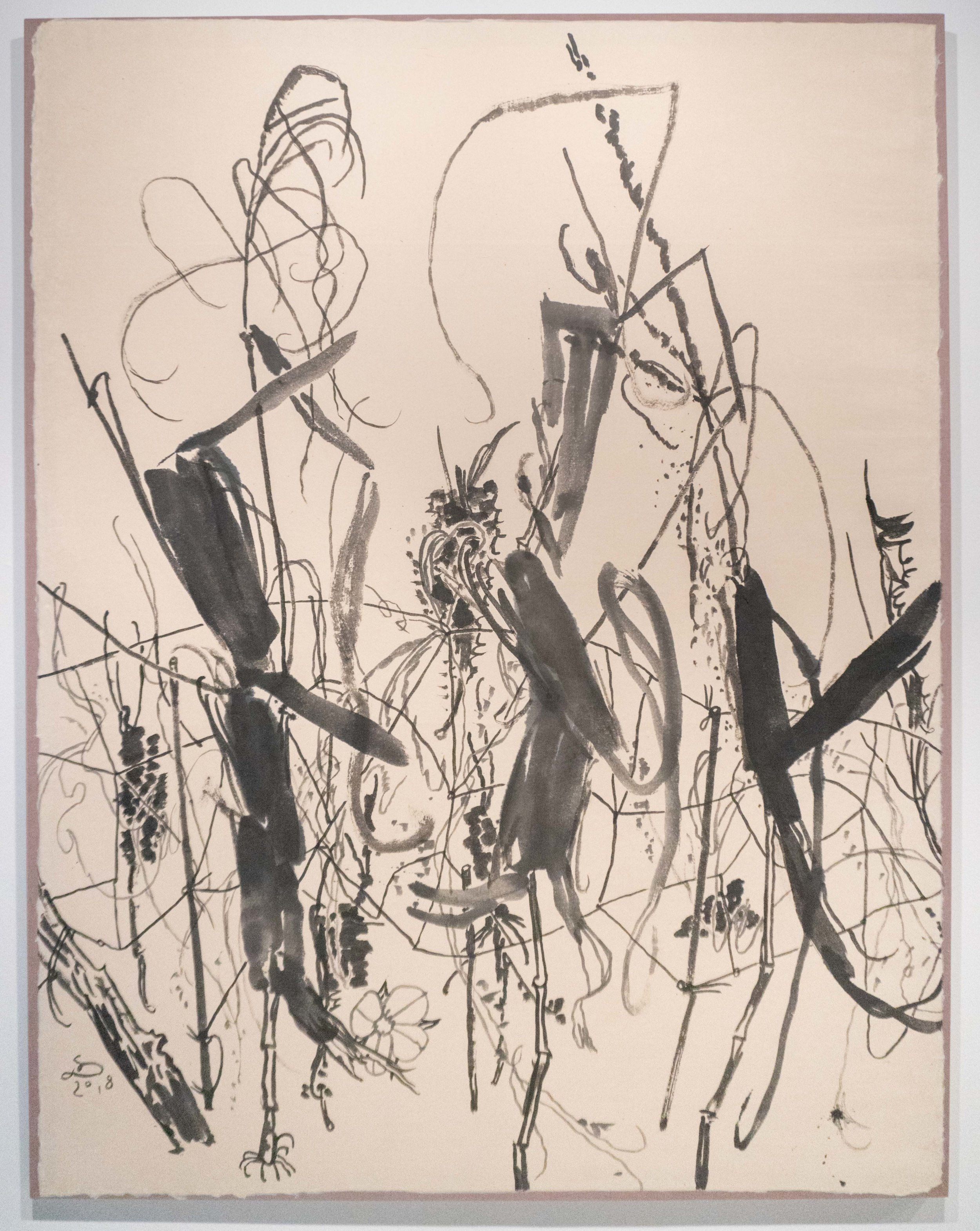 Kim Sun Doo 김선두 b. 1958   Great Celandine애기 똥풀 2018 Ink on Jangji paper 54 ⅜ x 70 ⅞ in