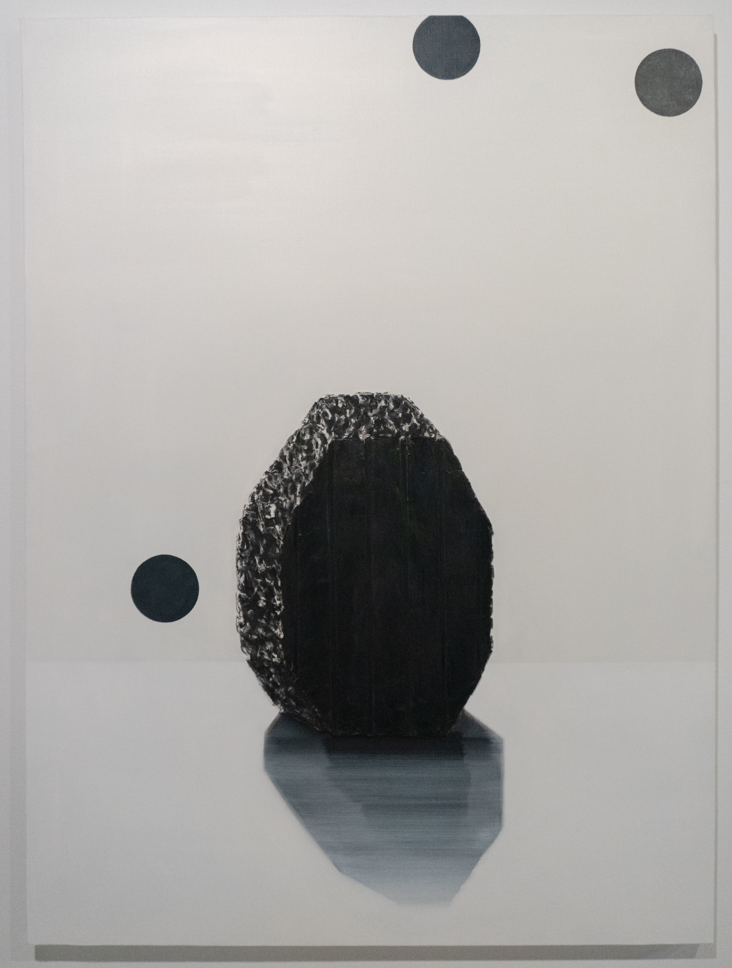 Lee In 이 인 b. 1959.   1. Black, Something 1. 검은, 어떤 것 2018 Mixed media on canvas. 63 ¾ x 99 in