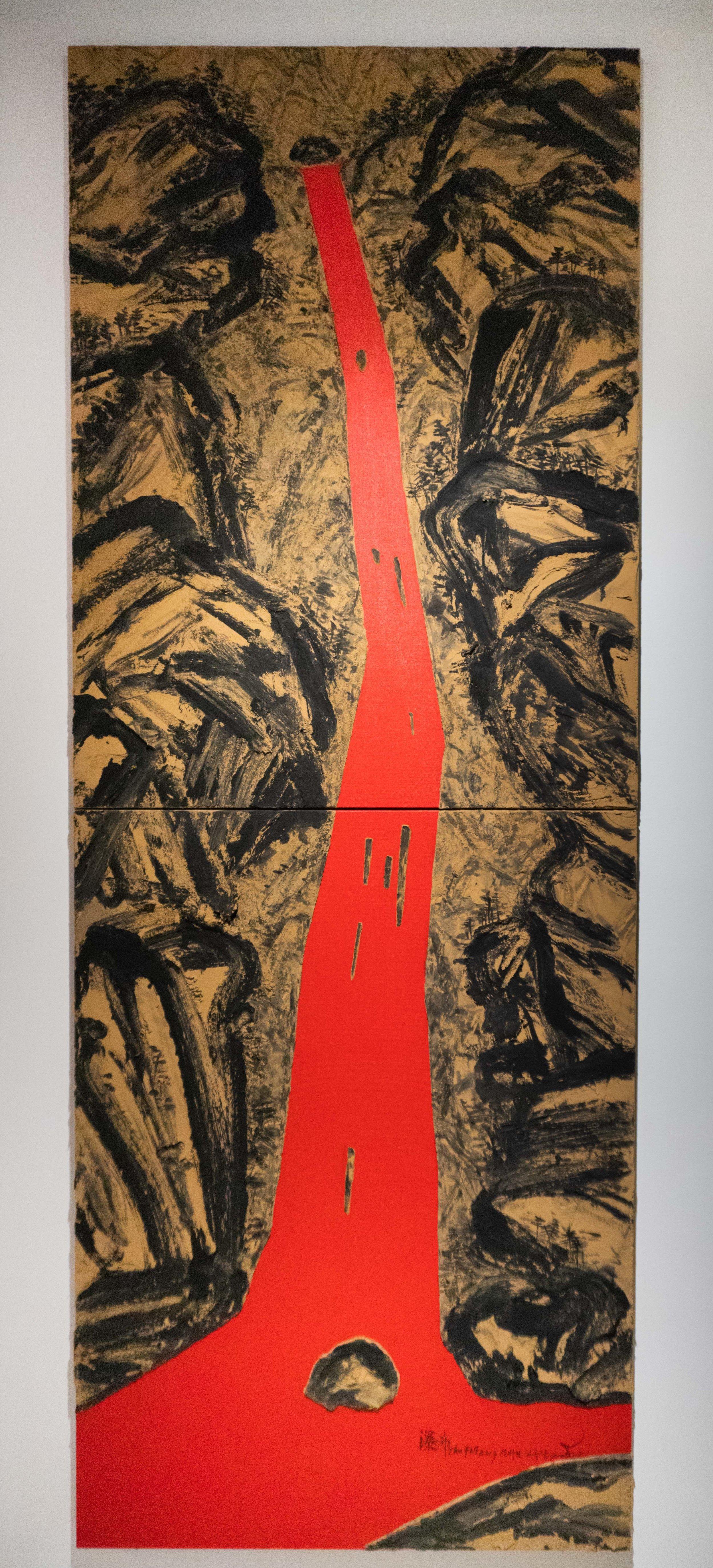Lim Oksang 임옥상 b.1950   Falling Water폭포 2019 Ink and soil 33 x 88 in